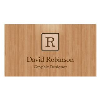 Elegant Monogram in Wood Grain Look Pack Of Standard Business Cards