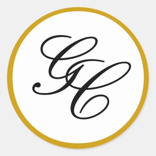 Elegant Monogram Initial Gold & Black Wedding Seal