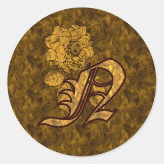 Elegant Monogram Initial N Gold Peony Sticker