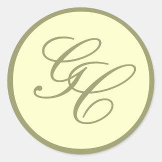 Elegant Monogram Initial Taupe Ivory Wedding Seal
