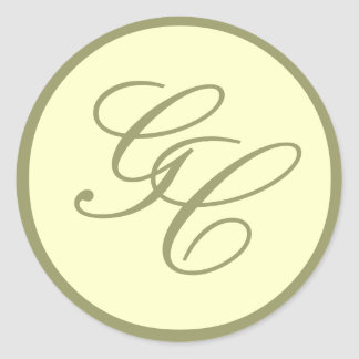 Elegant Monogram Initial Taupe Ivory Wedding Seal Round Sticker