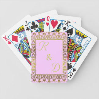 elegant monogram initialed playing cards deck gold