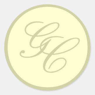 Elegant Monogram Ivory and Beige Wedding Sticker