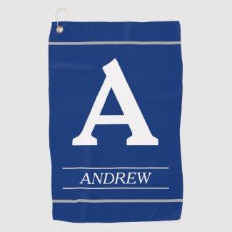 Elegant, Monogram Letter and Name Blue Golf Towel