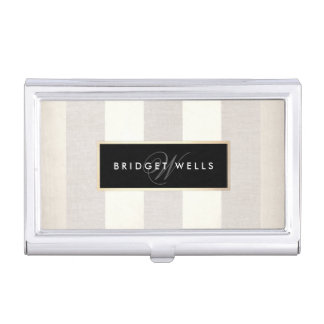 Elegant Monogram Linen and Silver Striped Pattern Business Card Holder