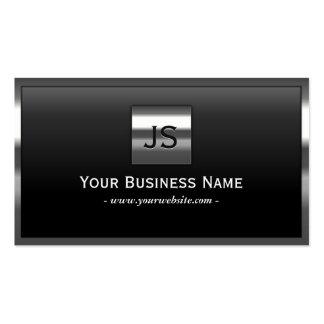 Elegant Monogram Metal Frame Dark Business Card