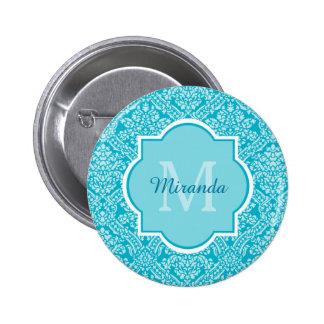 Elegant Monogram Name Feminine Turquoise Damask 6 Cm Round Badge