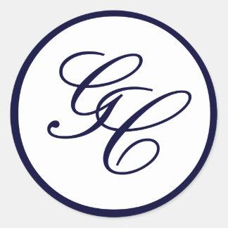 Elegant Monogram Navy and White Wedding Sticker
