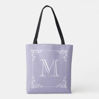 Elegant Monogram Pastel Purple or ANY COLOR Tote Bag