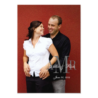 Elegant Monogram Photo Wedding Invitation Back