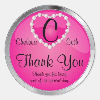 Elegant Monogram Pink and Silver Round Sticker