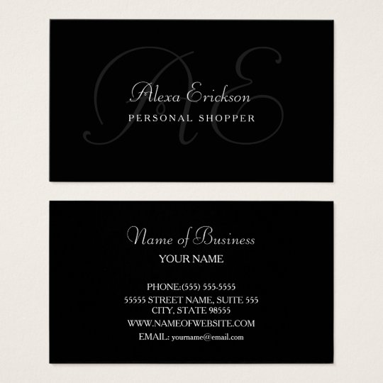 Elegant Monogram Plain Black and White Name Business
