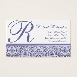 Elegant Monogram R Lilac Purple Pattern Business Card