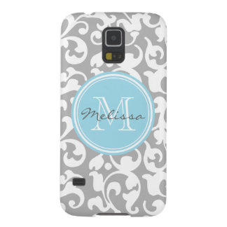 Elegant Monogram Scroll Damask Gray and Baby Blue Galaxy S5 Cover