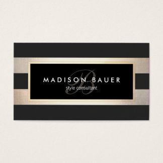 Elegant Monogram Striped Black and FAUX Gold Foil