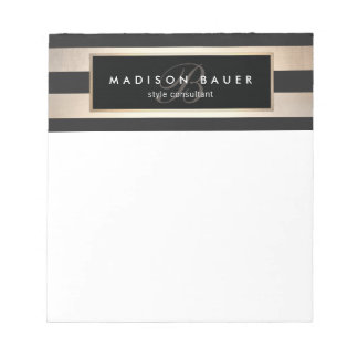 Elegant Monogram Striped Black and Gold Notepad