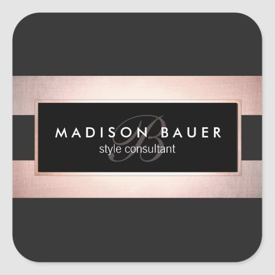 Elegant Monogram Striped Black and Rose Gold Square