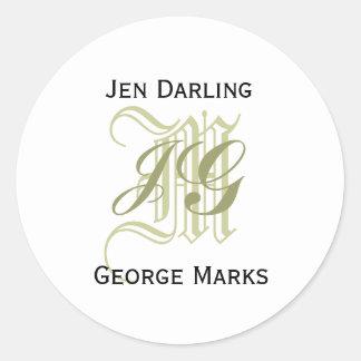 Elegant Monogram Taupe and White Wedding Seal Round Sticker
