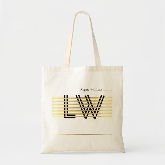 elegant monogram tote bag - golden striped
