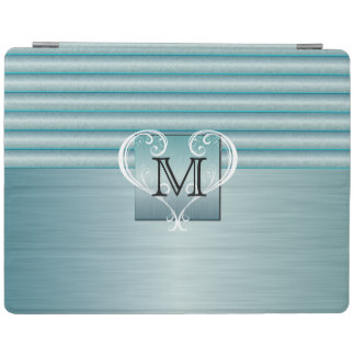 Elegant Monogram Turquoise Brush Steel iPad Cover