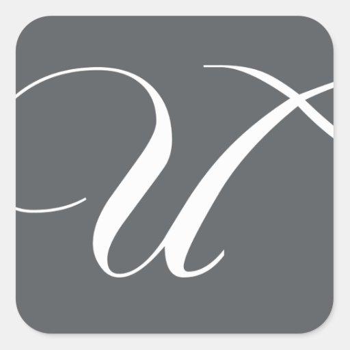 Elegant Monogram U Stickers for Weddings Grey