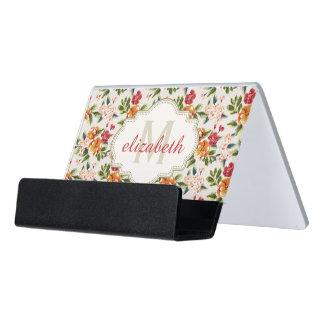 Elegant Monogram Vintage Floral Flowers Monogram Desk Business Card Holder