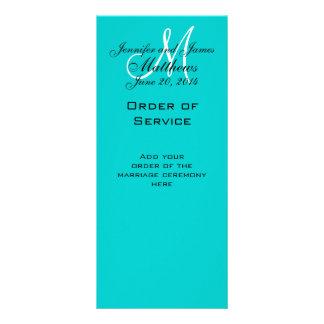 Elegant Monogram Wedding Church Programs Aqua Rack Card