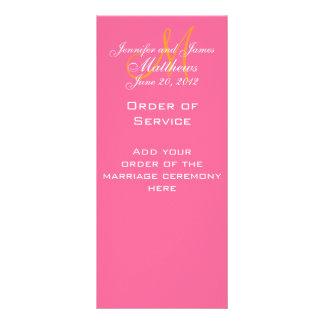 Elegant Monogram Wedding Church Programs Pink Rack Card