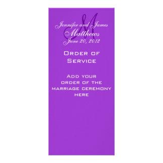 Elegant Monogram Wedding Church Programs Purple Rack Card