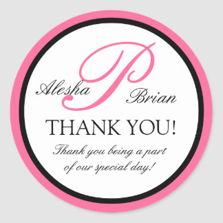 Elegant Monogram Wedding Favour Thank You Stickers