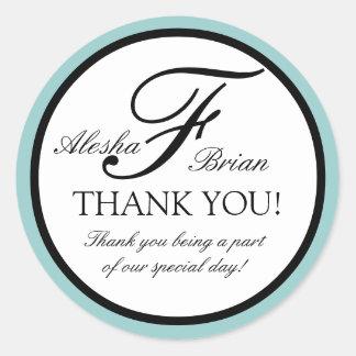 Elegant Monogram Wedding Favour Thank You Stickers