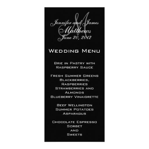 Elegant Monogram Wedding Menu Cards Custom Rack Cards