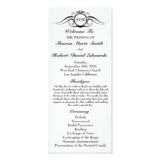 Elegant Monogram Wedding Program 10 Cm X 24 Cm Invitation Card