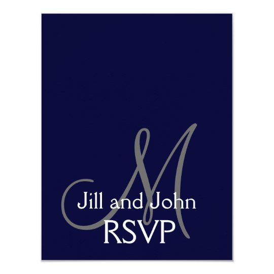Elegant Monogram Wedding RSVP Card Navy Grey