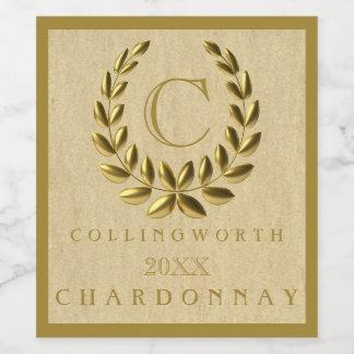Elegant Monogram With Gold Laurel Wreath Wine Label