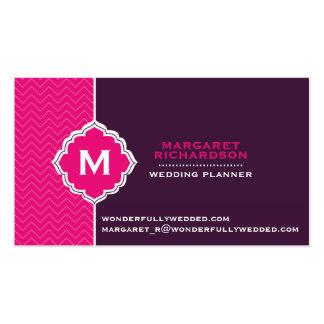Elegant Monogram Zig Zag Teal Yellow Business Card