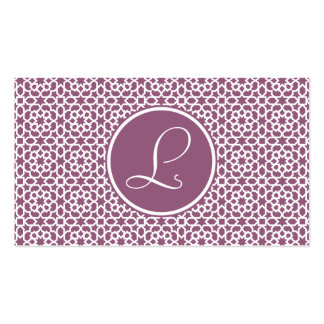 Elegant monograma of geometry purple pack of standard business cards