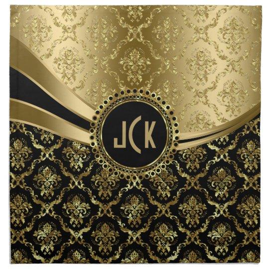 Elegant Monogramed Black & Gold Floral Damasks 2c