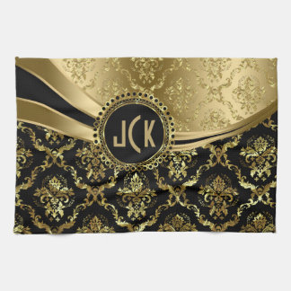 Elegant Monogramed Black & Gold Floral Damasks 2c Tea Towel