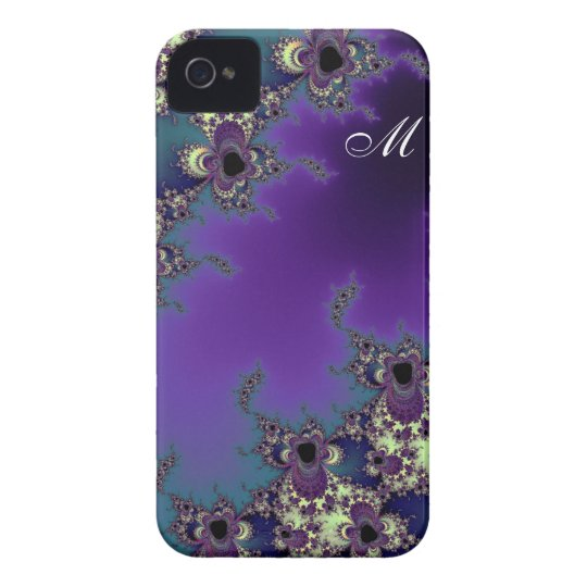 Elegant Monogramme Fractal Art for iPhone 4 Case