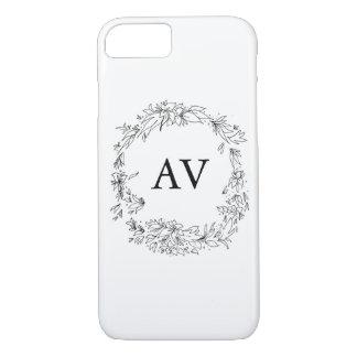 Elegant Monogrammed Black and White iPhone Case