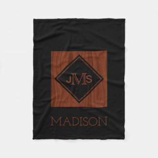 Elegant Monogrammed Black | Mahogany Rustic Wood Fleece Blanket