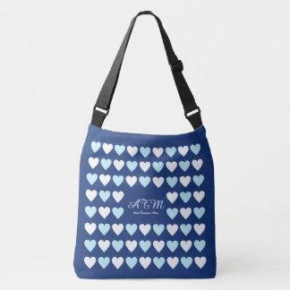 elegant monogrammed blue tote bag of hearts