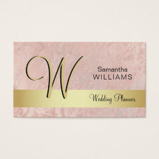 Elegant Monogrammed Gold Black Pink Marble Business Card