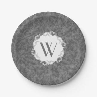 Elegant Monogrammed Vintage Floral 7 Inch Paper Plate