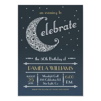 "Elegant Moon Celebration Invitation II 5"" X 7"" Invitation Card"
