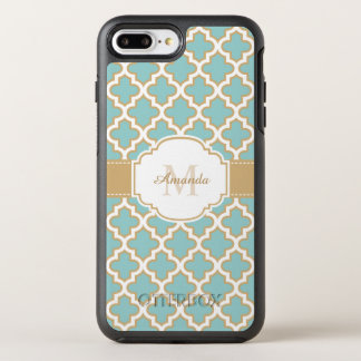 Elegant Moroccan Pattern Gold Teal Blue Monogram OtterBox Symmetry iPhone 8 Plus/7 Plus Case