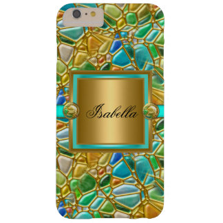 Elegant Mosaic Teal Blue Aqua Gold Overlay Barely There iPhone 6 Plus Case