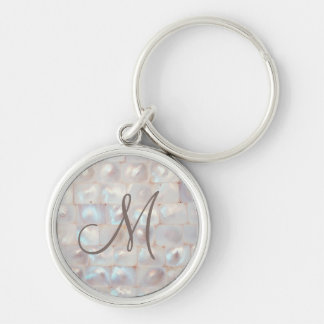 Elegant Mother of Pearl Monogrammed Keychain