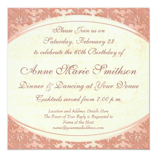 Elegant Mother's 60th Birthday Vintage Party Card